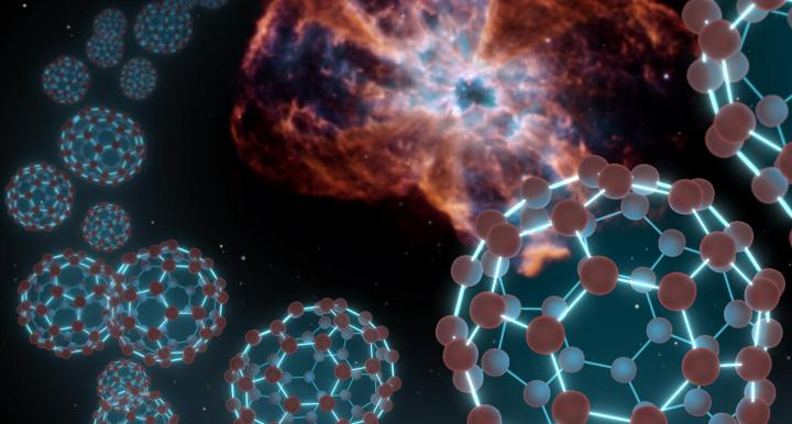 An artist's conception showing spherical carbon molecules known as buckyballs coming out from a plan
